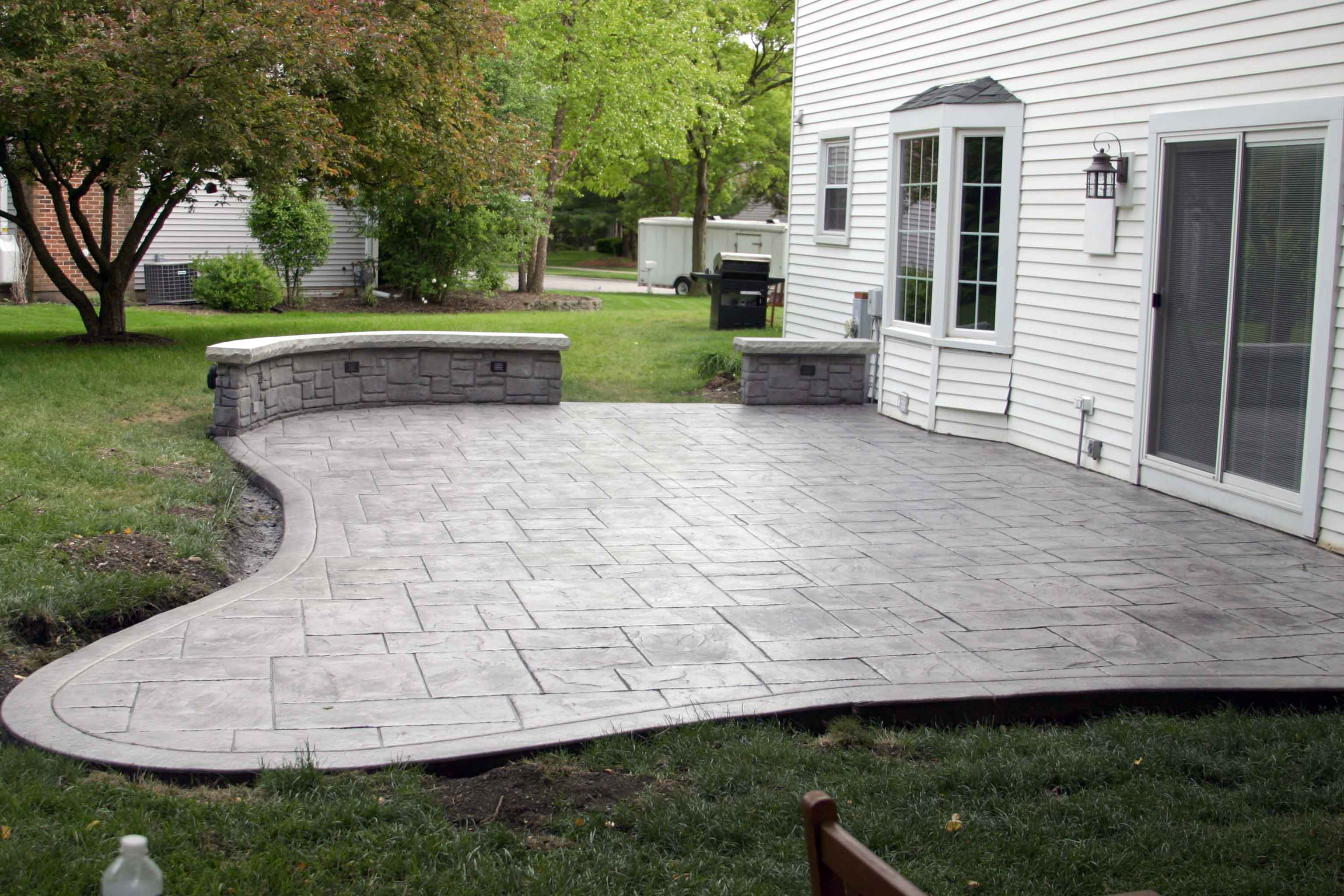 New Walkway Entry And Stamped Concrete Patio Stanley