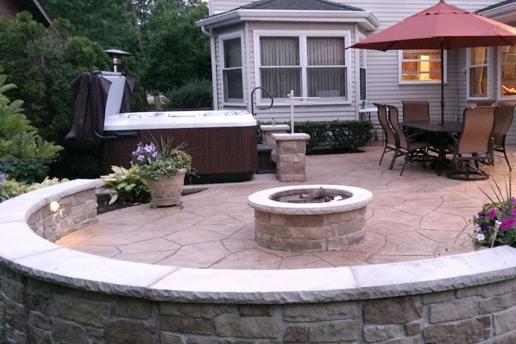 Stamped Concrete Patio and Firepit Stanley Company
